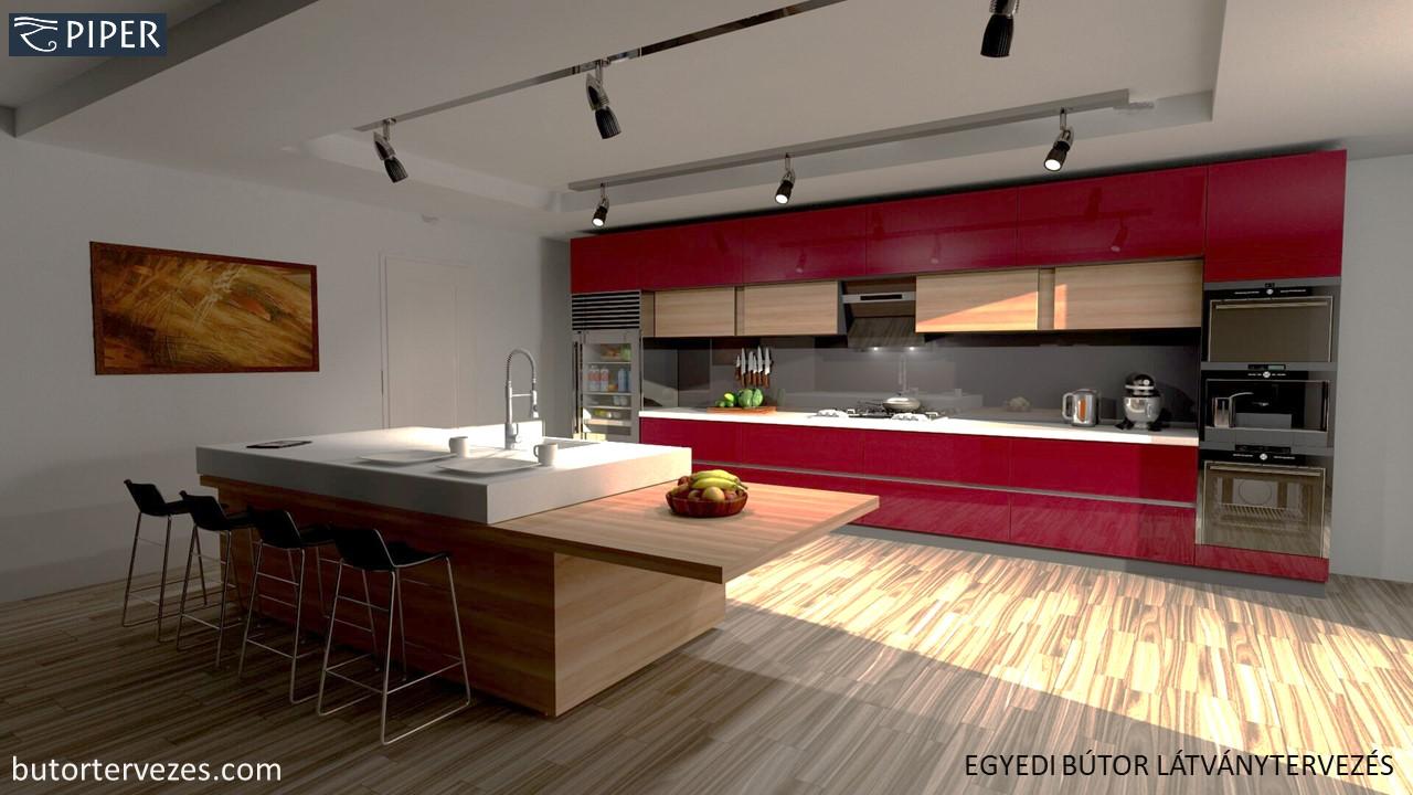 Egyedi konyhabútor bordó magasfényű fa és corian kiegészítőkkel PIPER 3D látványterv