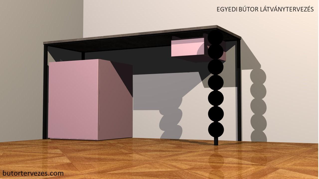 Fekete fém asztal beépített lila bárhűtő függesztett fiókkal látványterv
