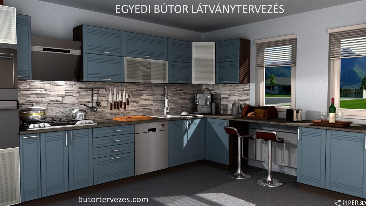 Festett kék modern konyhabútor látványterv