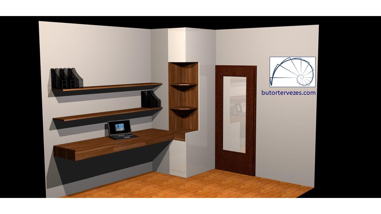 Diófa fehér fényes akril ajtófronttal dolgozószoba kép1