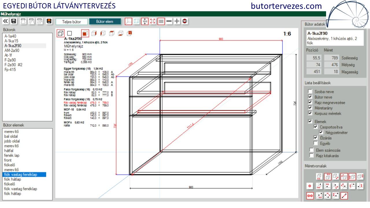 Gyártmányterv, műhelyrajz 90cm alsó szekrény 2db kihúzható fiók, 1db kihúzható ajtó