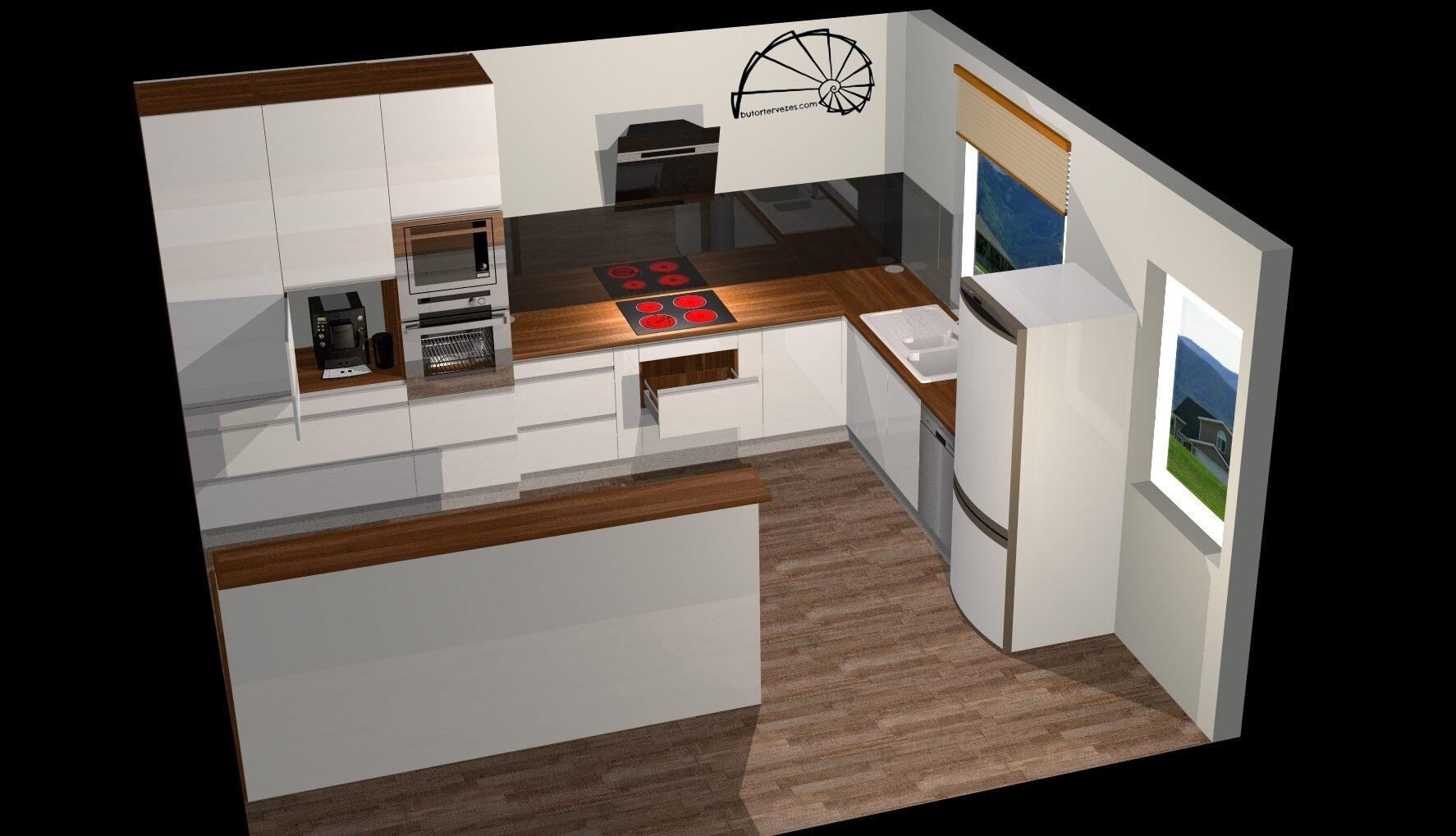 Bútor látványterv, magasfényű konyhabútor, szigettel, élfogantyúval - szemből nézet