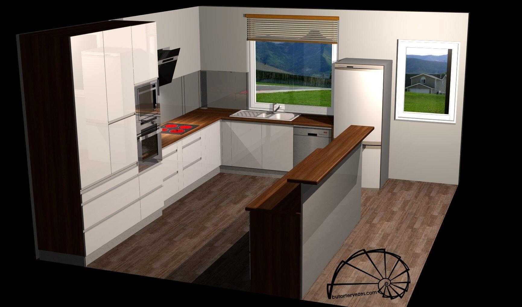 Bútor látványterv, magasfényű konyhabútor, szigettel, élfogantyúval, oldal nézet