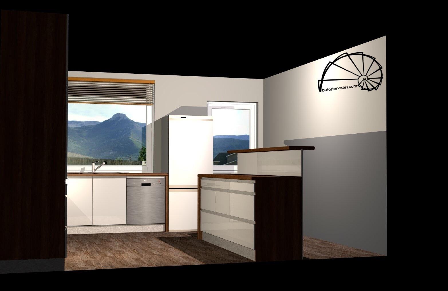 Bútor látványterv, magasfényű konyhabútor, szigettel, élfogantyúval - oldal nézet Bútor látványterv, magasfényű konyhabútor, szigettel, élfogantyúval - sziget belső nézet
