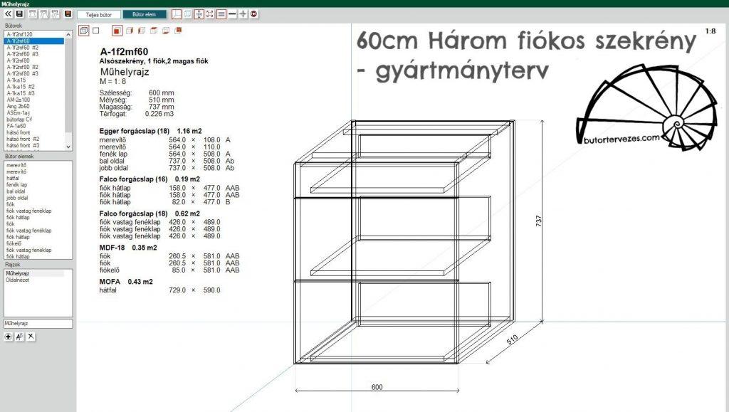 Bútor látványterv, magasfényű konyhabútor, szigettel, élfogantyúval - gyártmányterv 60cm három fiókos szekrény