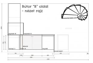 Bútor látványterv, magasfényű konyhabútor, szigettel, élfogantyúval - méretezett vonalas rajz, oldal nézet