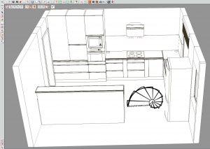 Bútor látványterv, magasfényű konyhabútor, szigettel, élfogantyúval - vonalas rajz
