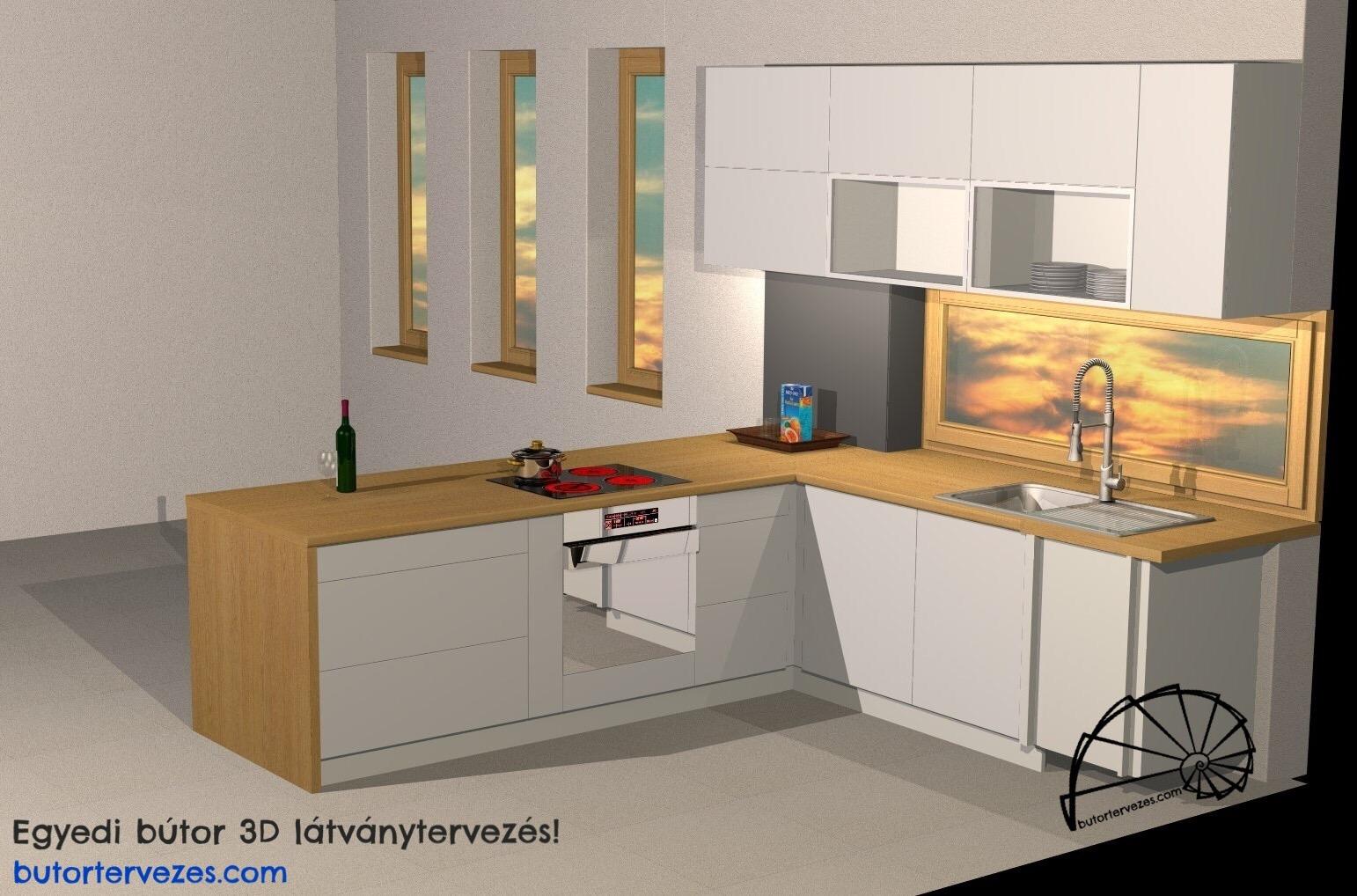 Egyedi konyhabútor 3D fotorealisztikus látványterv