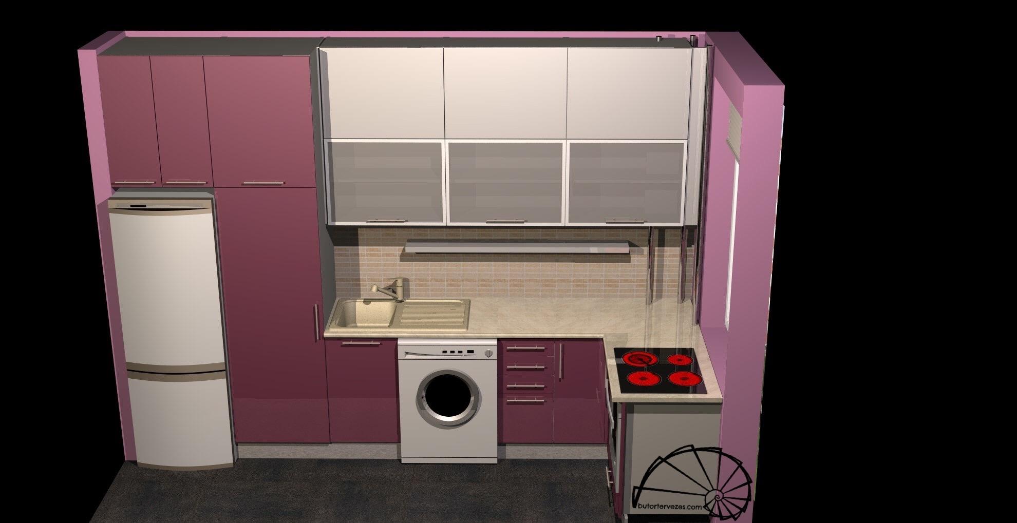 Lakótelepi konyhabútor 3d látványterv2