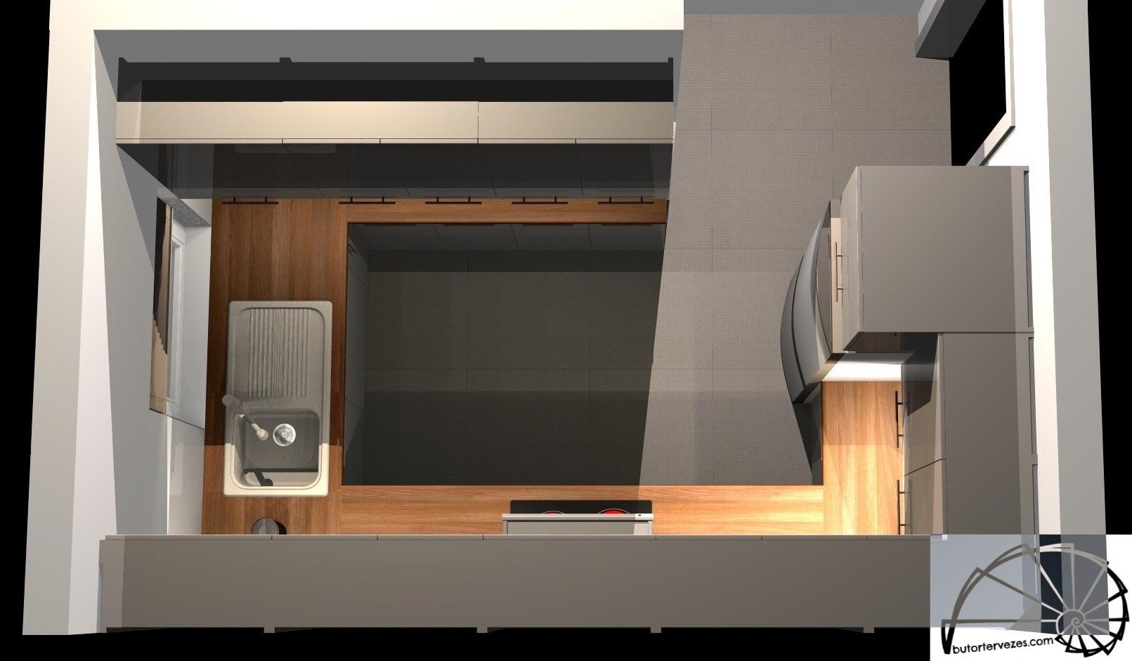 Látványterv egyedi magasfényű konyhabútor felülnézet