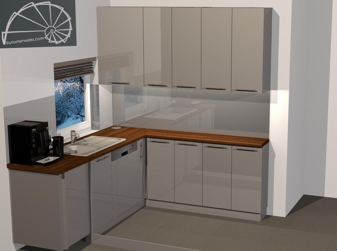 Látványterv egyedi magasfényű négyoldalas konyhabútor c-d oldal kép