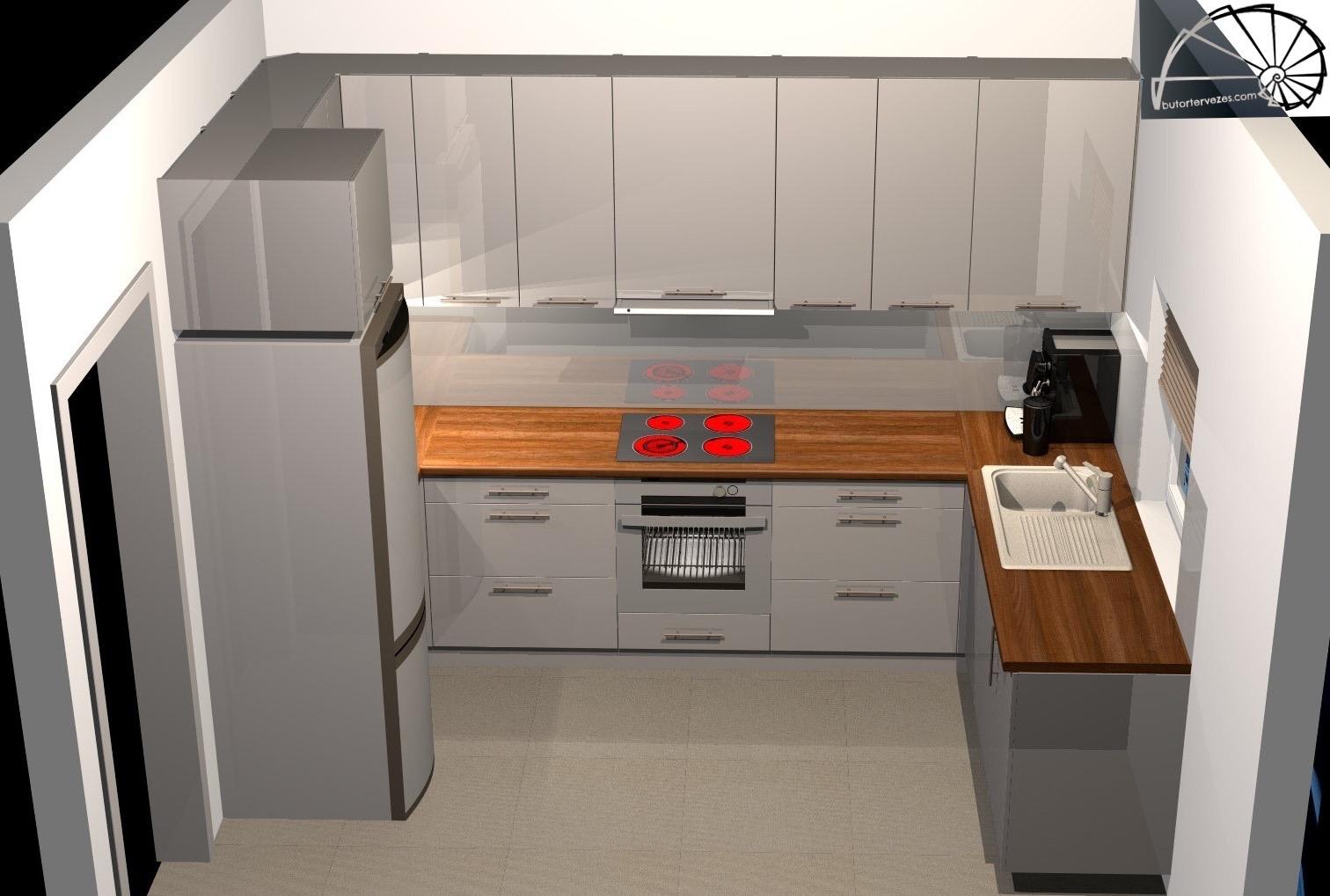 Látványterv egyedi magasfényű négyoldalas konyhabútor a-b-c oldal kép