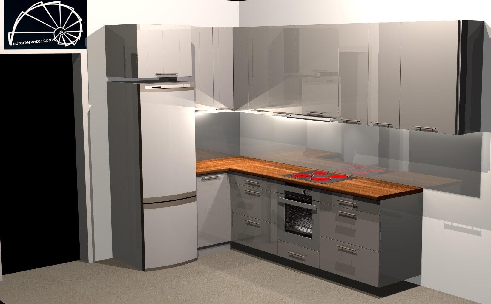 Látványterv egyedi magasfényű négyoldalas konyhabútor a-b oldal kép