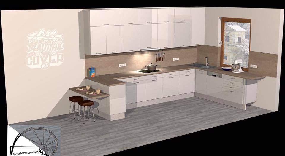 Egyedi gyártású magasfényű krém konyhabútor, dekor faltakarással, 3D látványterv kép