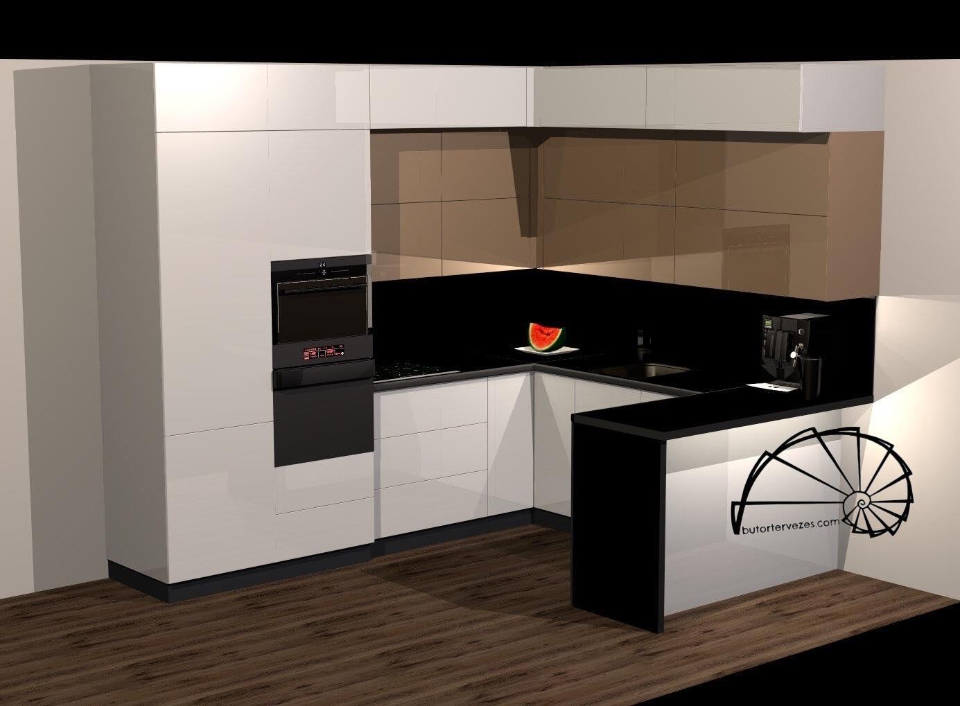Egyedi magasfényű fehér és matt kávé akril konyhabútor szigettel, 3d látványterv
