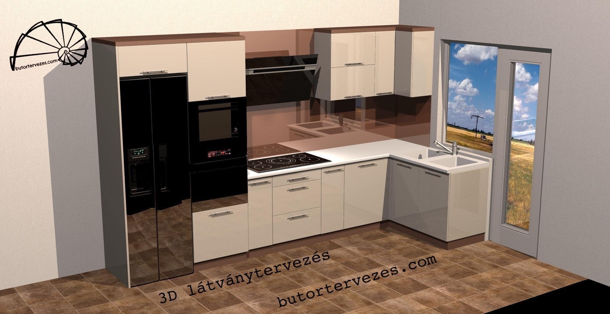 Egyedi magasfényű konyhabútor Lacobel üveg faltakarással