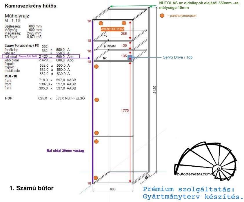 Álló szekrény gyártmányterv, beépített hűtő, Servo Drive, Blum Aventos HK Top felnyíló ajtó
