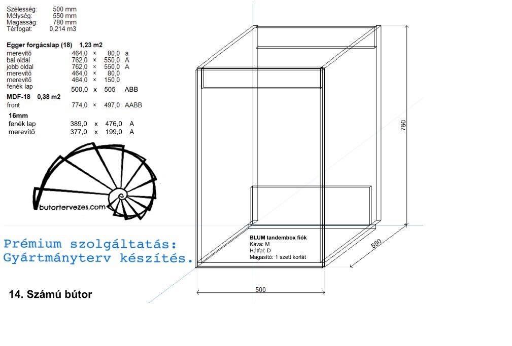 Konyhabútor gyártmányterv, mosogató alsó szekrény, 1 kihúzható ajtó, Blum aventos