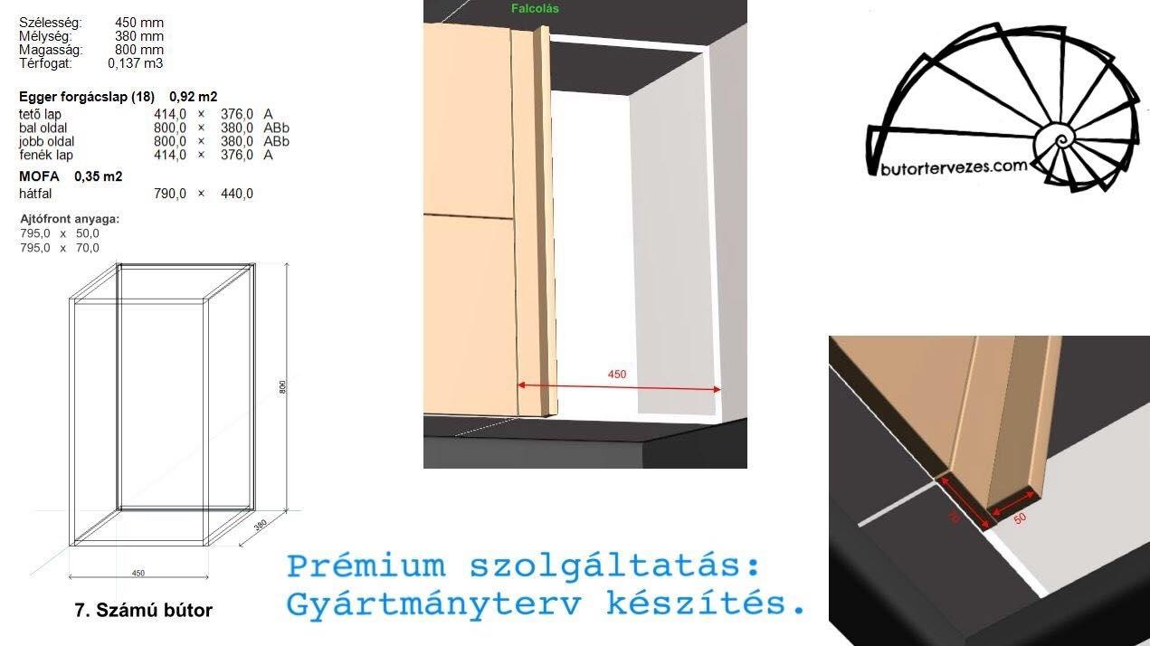 Konyhabútor gyártmányterv felső sarokszekrény, felnyíló ajtókhoz