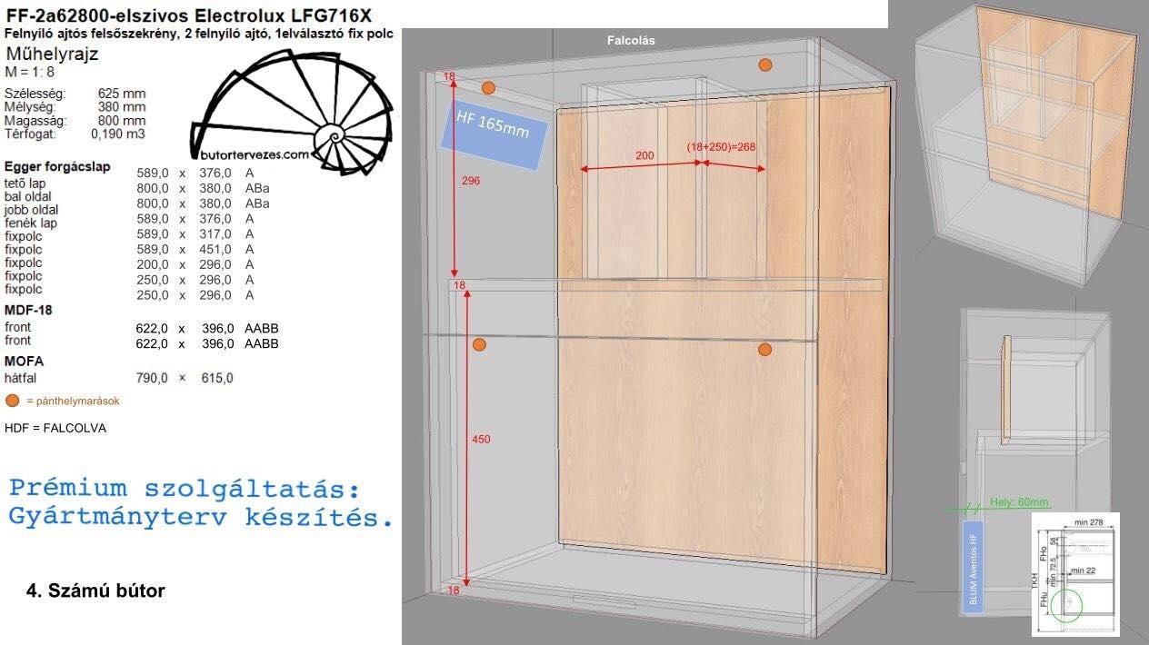 Konyhabútor gyártmányterv felső szekrény beépített elszívóhoz, Blum Aventos HF felnyíló ajtóval, LFG716X