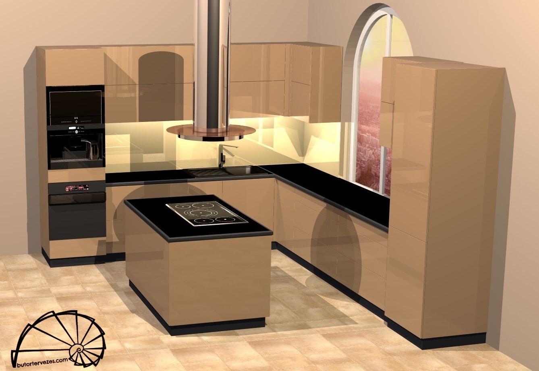 Látványterv magasfényű kávé konyhabútor FENIX black munkalappal