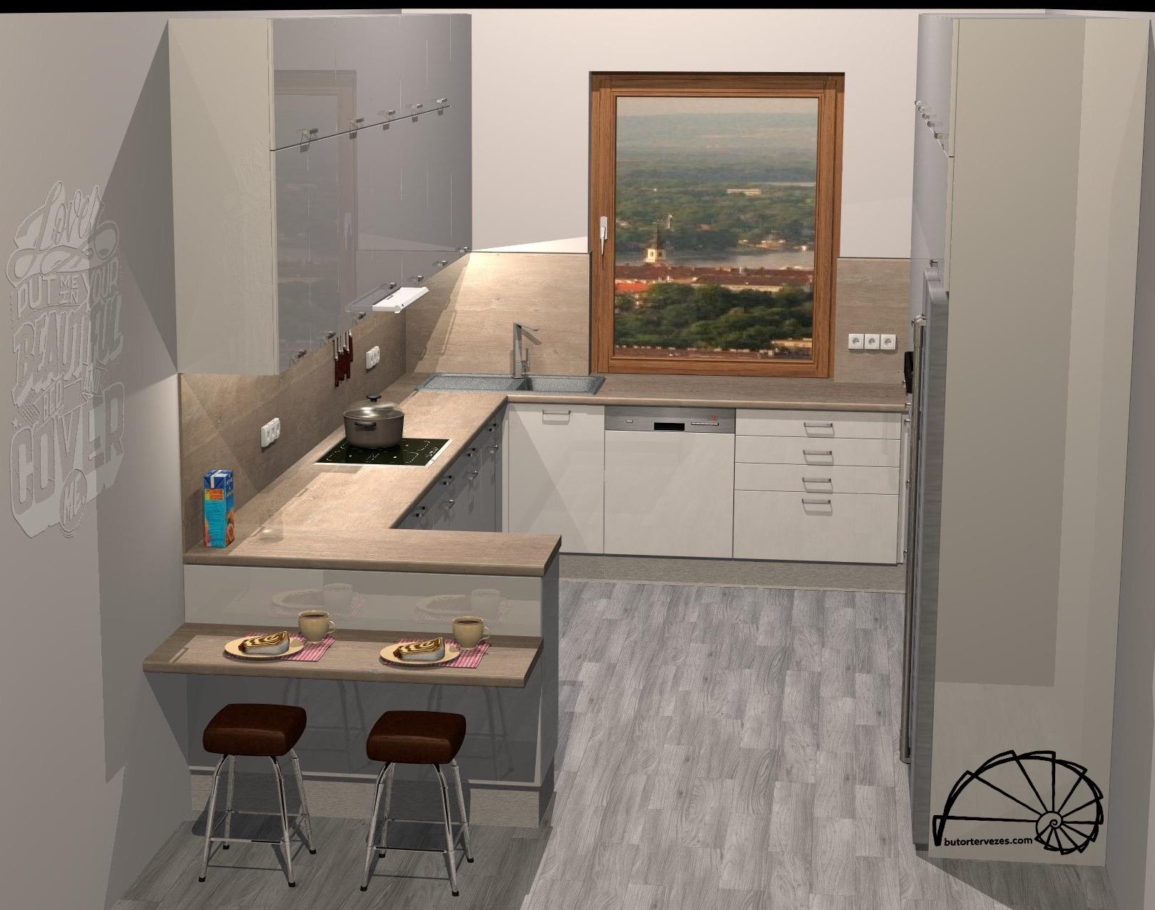 Egyedi konyhabútor látványterv magasfényű fehér U alakú szigettel