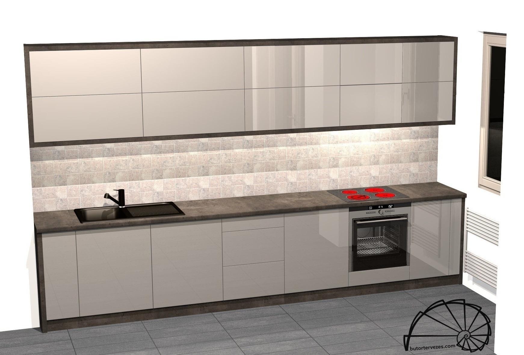 Magasfényű konyhabútor látványterv felnyíló ajtóval, kerettel