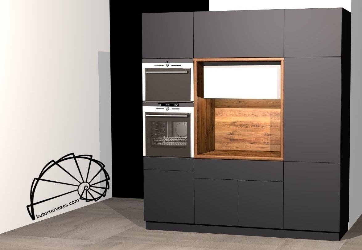 Egyedi konyhabútor látványterv, matt antracit AGT front, munkalap Egger H2032 Hunton tölgy, gépes álló szekrény