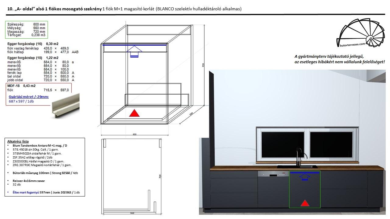 Egyedi konyhabútor gyártmányterv, alsó mosogató szekrény, 1 Blum antaro fiók magasítóval, Blanco Flexon 60cm szelektív hulladéktároláshoz