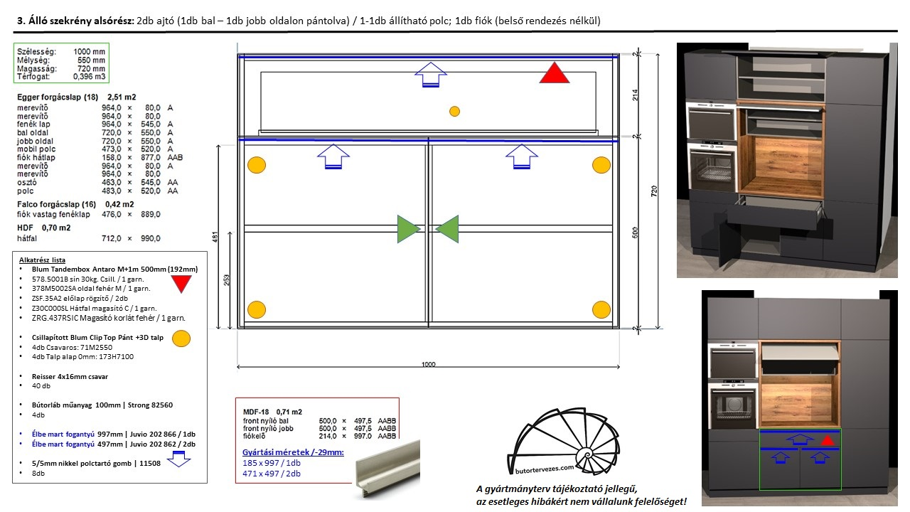 Egyedi konyhabútor gyártmányterv, alsó szekrény, 1db Blum antaro fiók, 2db nyíló ajtó, polc
