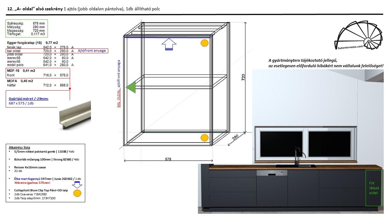 Egyedi konyhabútor gyártmányterv, alsó szekrény, 1 nyíló ajtó