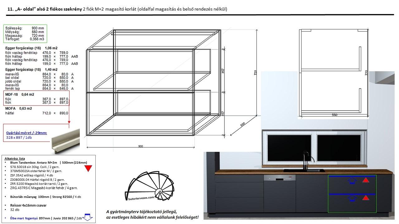 Egyedi konyhabútor gyártmányterv, alsó fiókos szekrény, 2 db nagy Blum antaro fiók, kép