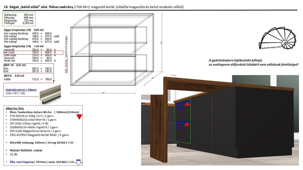 Egyedi konyhabútor gyártmányterv, alsó sziget szekrény, 2 db nagy Blum antaro fiók, kép2