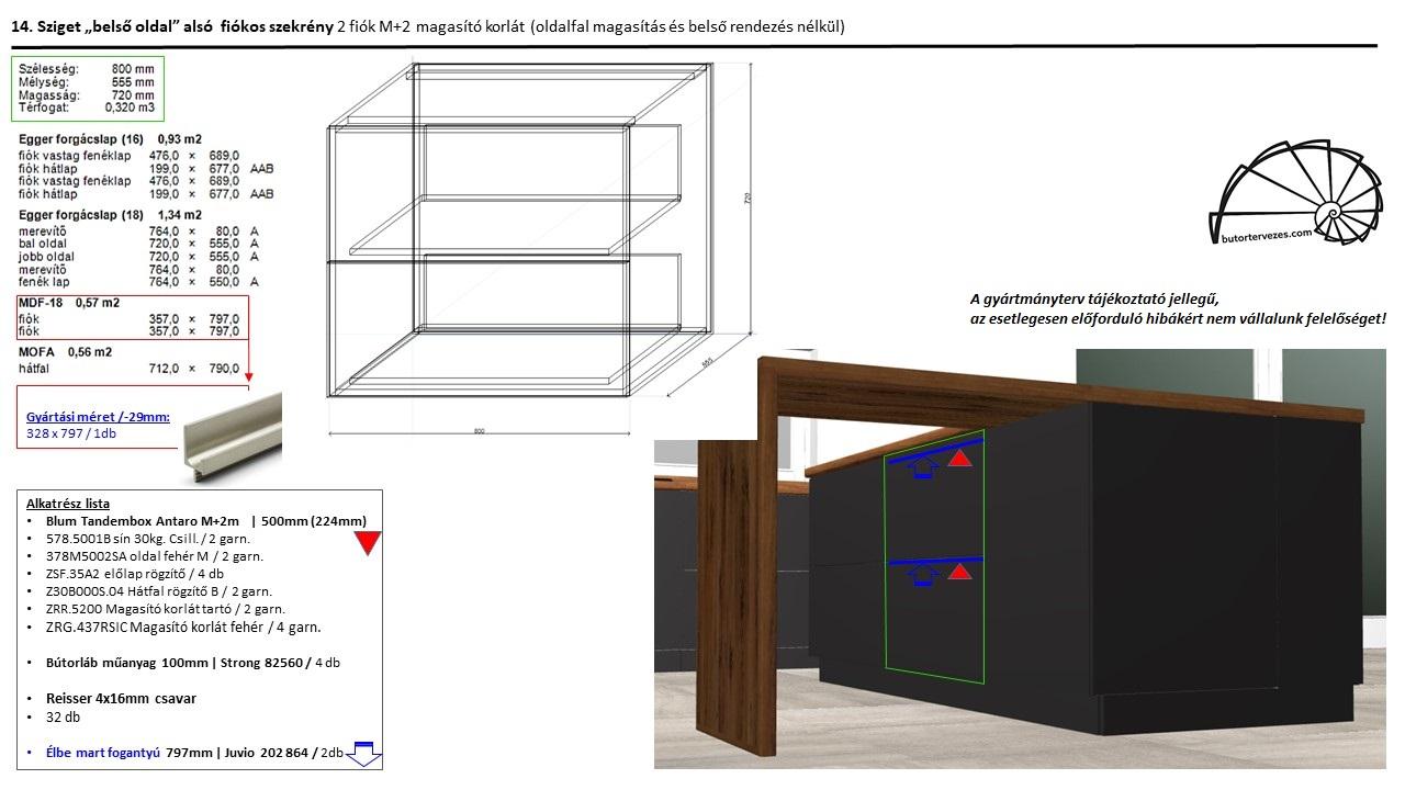 Egyedi konyhabútor gyártmányterv, alsó szekrény, 2 db nagy Blum antaro fiók