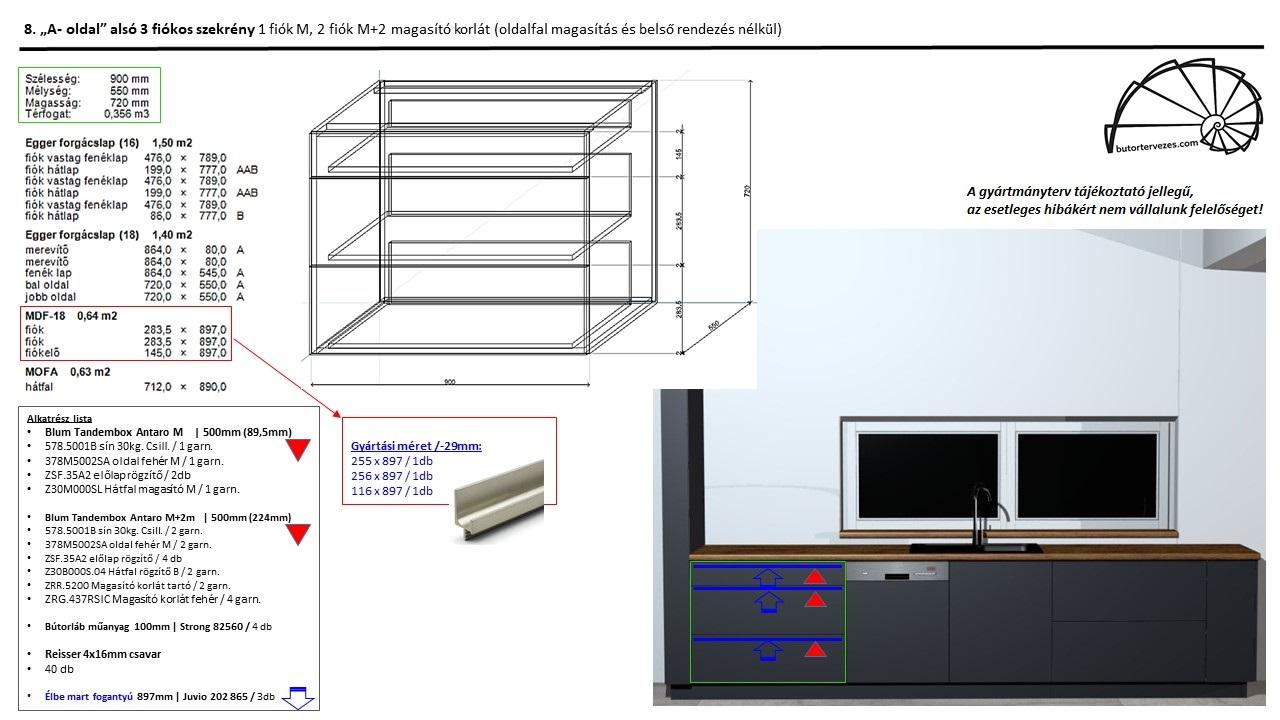 Egyedi konyhabútor gyártmányterv, alsó fiókos szekrény, 1 db normál M, és 2db nagy M+D Blum antaro fiók, kép