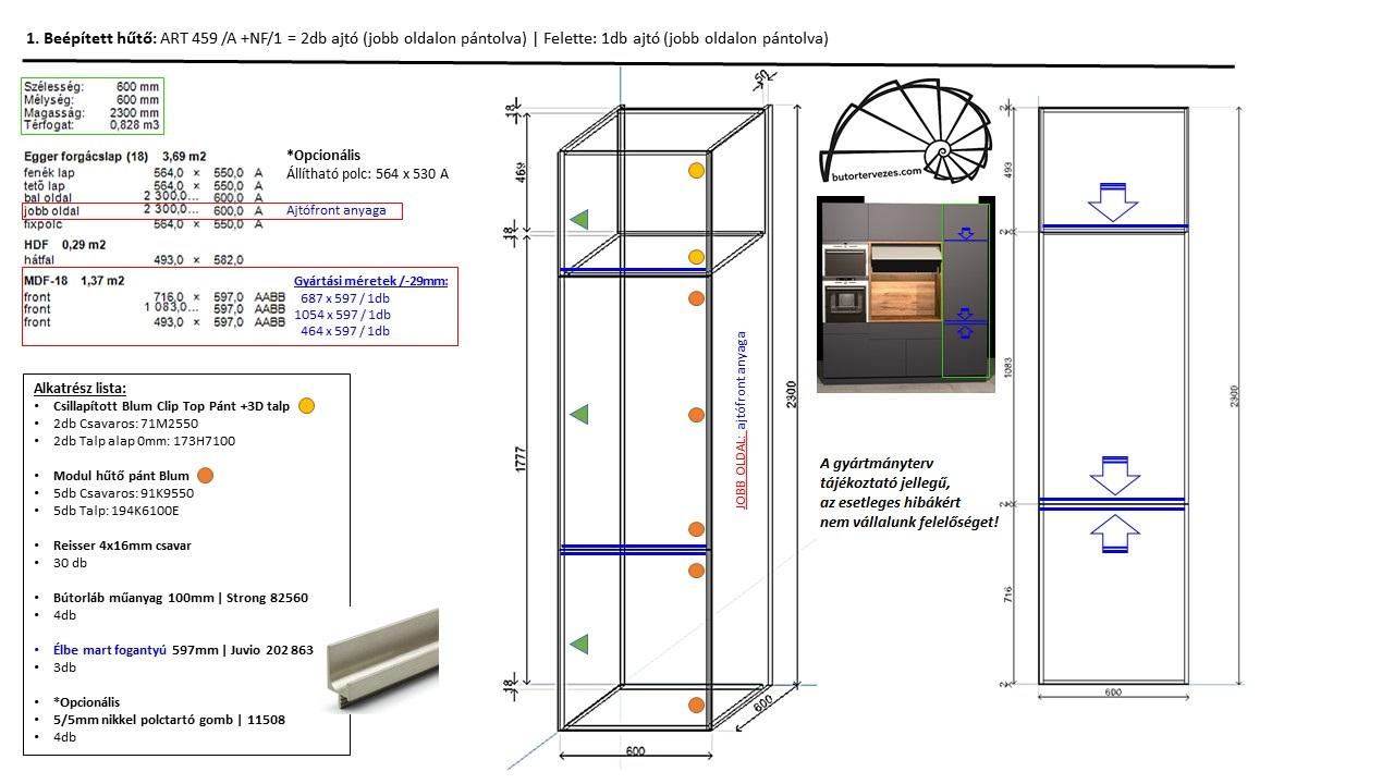 Egyedi konyhabútor gyártmányterv, álló szekrény, beépített hűtő.