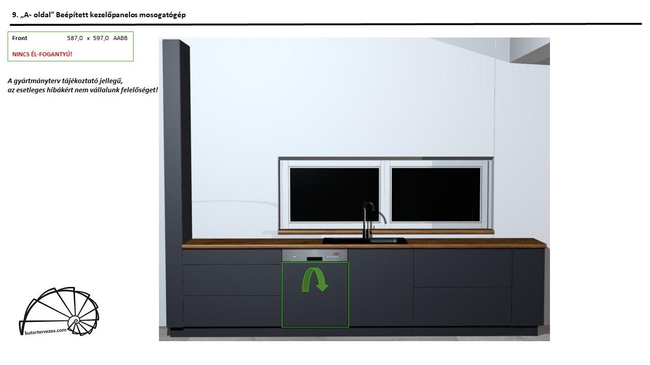 Egyedi konyhabútor gyártmányterv, alsó kezelőpanelos mosogató gép